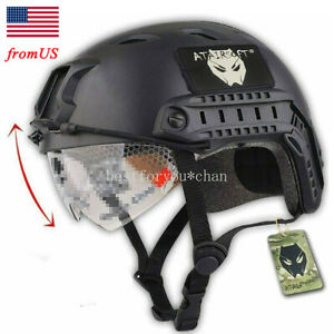 Airsoft Tactical Emerson Paintball Fast Helmet BJ Type w Protective Goggles BK