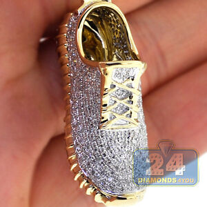 10K Yellow Gold 1.13 ct Diamond Pave Sneaker Sport Yeezy Shoe Mens 3D Pendant
