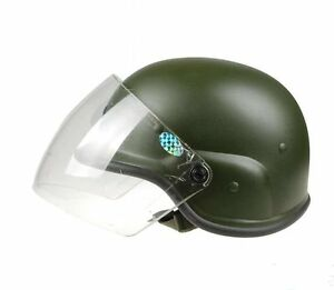 Military Tactical Airsoft M88 Pasgt Kelver Swat Helmet With Clera Visor  GREEN