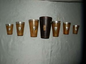 Antique 6 Graduated Hallmarked Bovine Horn Tumblers In Case.