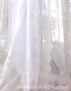 SHABBY FRENCH WHITE VINTAGE ROSES LACE COTTAGE CHIC DRAPE CURTAIN PANEL 84 LONG