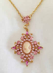 New Vintage Style Cameo Pink Cross Pearl Crystals Charm Chain Necklace BR1125
