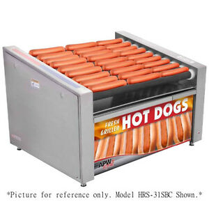APW Wyott HRS-50SBC X*PERT Slanted Non-Stick Hot Dog Roller Grill w Bun Cabinet