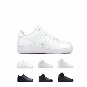 Nike Air Force 1 07 Low Mid High White White amp; Black Black Shoes Mens GS Kids $99.99