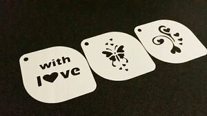 3pcs Valentine's Day With Love Butterfly Hearts Stencils Decoration Cake Wedding