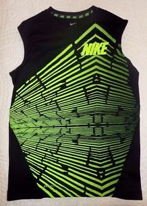 Nike Dri Fit Boy's Sz M Muscle Shirt Sleeveless Tee Black w Neon Green