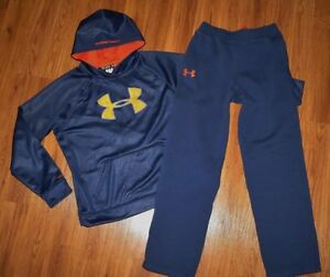 Lot 2 Boys UNDER ARMOUR Loose Big Logo Storm Hoodie Rival Sweat Pants YXL 1820