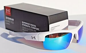 UNDER ARMOUR Igniter Sunglasses Shiny WhiteBlue Multi NEW SportCycle $100