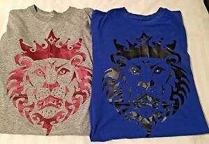 Nike Dri Fit Lebron James King James Lion T-Shirt Mens L Grey & Blue Lot of 2