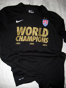 US WORLD CHAMPIONS CUP SOCCER OLYMPIC MULTI LOGO NIKE DRI FIT JERSEY T SHIRT-XL