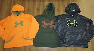 Lot 3 Boys XL UNDER ARMOUR Loose Big Logo Storm Hoodie Pullover Sweatshirt YXL