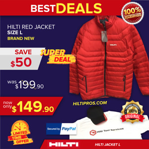 HILTI RED JACKET, SIZE L, NEW, FREE HAT, T SHIRT, FAST SHIP