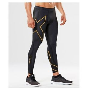 * NEW * 2XU Mens Elite MCS Compression Running Tights BLACK  GOLD REFLECTIVE