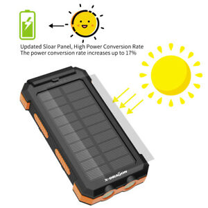 500000mAh Portable External Solar Power Bank 2USB Battery Charger for Cell Phone