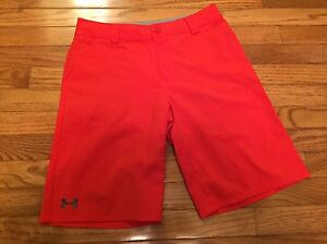 Under Armour Orange Short YLG Youth Large L UA Play Golf �� Loose Fit Flat EUC