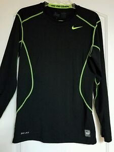Nike Men's Pro Combat Fitted Dry Fit Shirt Size Small Black Long Sleeve