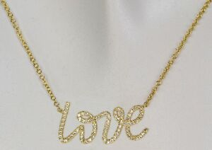 Script LOVE Necklace with Diamond in14k Yellow Rose or White Gold (D 0.19cts)