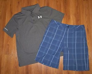 Boys UNDER ARMOUR Match Play Polo Shirt Forged Plaid Golf Shorts YLG Large 1416