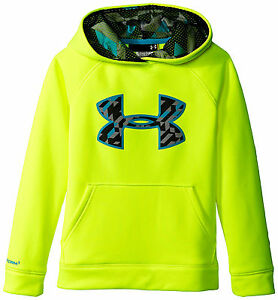 Under Armour Boy's Storm Armour Fleece Big Logo Hoodie Hi Vis Yellow Size YXL