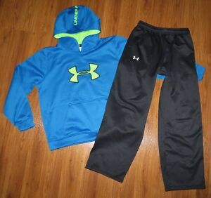 Lot 2 Boys XL UNDER ARMOUR Loose Big Logo Storm Hoodie Fleece Sweat Pants YXL