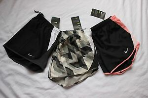 3 NWT Women's NIKE 10K Black White Orange DRI FIT RUNNING Gym SHORTS Medium LOT