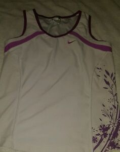 Nike Fit Dry V Neck tank top Small 4-6 White Pink shirt Womens Athletic