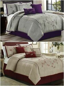 Chezmoi Collection 7pc Cherry Blossoms Floral Embroidery Comforter Set