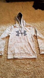 Under Armour Mens hoodie White and Grey Camo Size Small