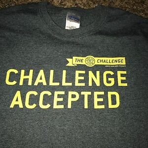Sm Golds Gym Challenge Accepted Work Out Weight Loss T Shirt EUC