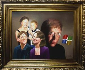 ORIGINAL BILL GATES OIL PAINTING ON CANVAS