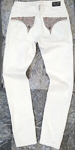 ROBIN'S JEAN EMBELLISHED JEANS WHITE-RED 100% AUTHENTIC MADE IN USA