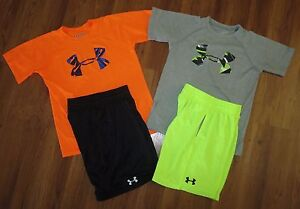 Lot 4 Boys UNDER ARMOUR Big Logo T-Shirts Athletic Dominate Shorts YSM Small 8