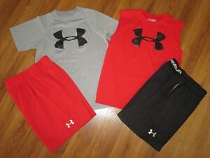 Lot 4 Boy's UNDER ARMOUR Big Logo T-Shirts Athletic Dominate Shorts YSM Small 8