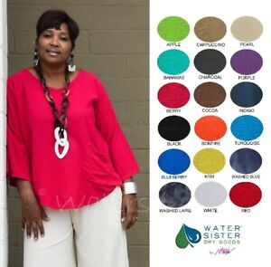 WATERSISTER Cotton Gauze  JOEY Easy Pocket Tunic Top OS (M-1X2X)  2018 COLORS