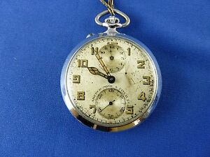 Vintage Abercrombie & Fitch alarm pocket watch stainless steel runs Rare