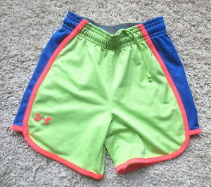 UNDER ARMOUR GREENPINKBLUE LOOSE FIT HEAT GEAR GIRLS SHORTS SZ YOUTH XSMALL