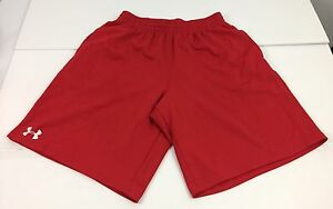 Under Armour Men's Medium Shorts Red Embroidered White Logo With Pockets