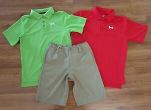 Lot 3 Boys UNDER ARMOUR Polo Shirts Medal Play Golf Shorts YMD Medium 1012