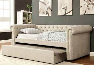 Leanna Daybed Twin Size Tufted Rolled Arm Nailhead Trim Linen-like Fabric Beige