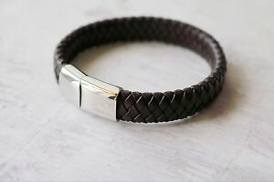 Personalised Men's Leather Bracelet - Various Sizes 17cm 19cm 21cm 23cm