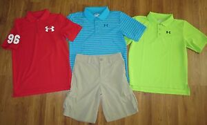 Lot 4 Boys UNDER ARMOUR Big Logo Polo Shirts Ranger Cargo Golf Shorts YLG Large