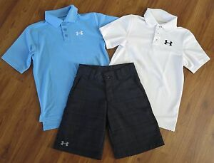 Lot 3 Boy's UNDER ARMOUR Polo Shirts Performance Plaid Golf Shorts YSM Small 8