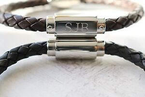 Mens Personalised Leather ID Bracelet