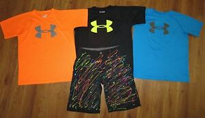 Lot 4 Boys UNDER ARMOUR Big Logo Loose Shirts WILD Forged Golf Shorts YLG Large