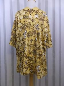 Cutter & Buck Golf Shirt Extra Large Yellow Tan White Tropical Floral