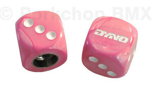 Dyno solid logo old school BMX bicycle tire Schrader valve DICE caps (PAIR) PINK