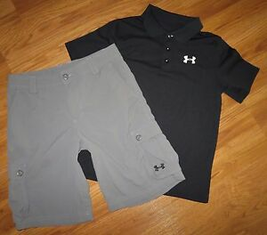 Lot 2 Boy's UNDER ARMOUR Match Play Polo Shirt Cargo Golf Shorts YLG Large 1416