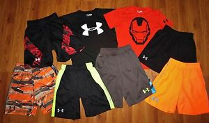 Lot 8 Boy's UNDER ARMOUR Big Logo T-Shirts Printed Athletic Shorts YSM Small 8