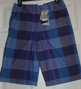 NWT New Boys Under Armour Blue Plaid Shorts Heat Gear Keeps Cool YL Youth Large