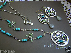 Silpada SET Sterling Silver Howlite Turquoise Necklace N2193 Earring W2213 $168